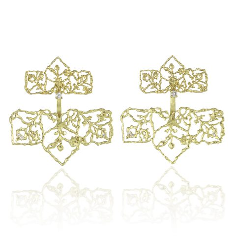 Natalie Perry Jewellery, Diamond Petal Straight Ear Jackets in Fairtrade Gold