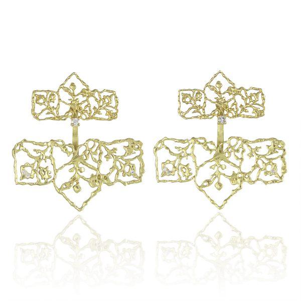 Natalie Perry Jewellery, Diamond Petal Straight Ear Jackets in Fairtrade Gold