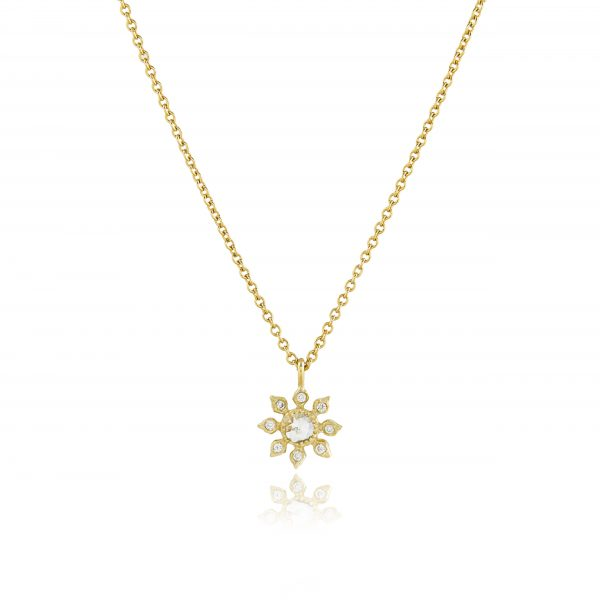 Natalie Perry, Multi Diamond Flower Necklace in Fairtrade Gold
