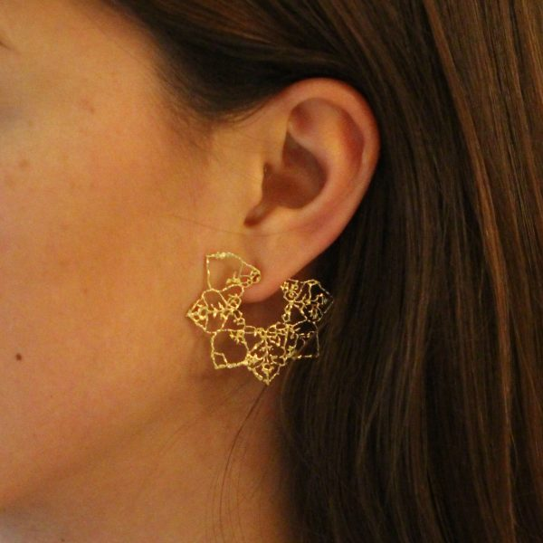 Natalie Perry, Multi Diamond Lace Flower Mandala Earrings model (2)