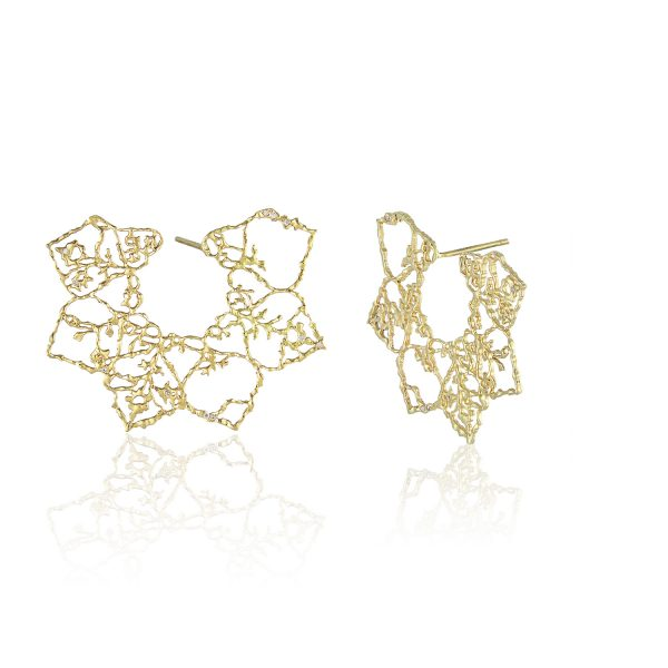 Natalie Perry Jewellery, Multi Diamond Lace Mandala Earrings in Fairtrade Gold