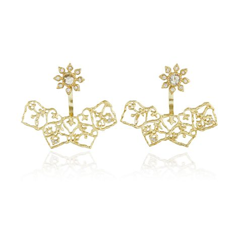 Natalie Perry, Diamond Flower Curved Ear Jackets in 18ct Fairtrade Gold jewellery