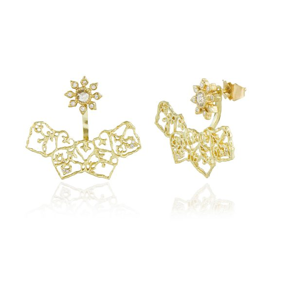 Natalie Perry, Diamond Flower Curved Ear Jackets in 18ct Fairtrade Gold jewellery (2)