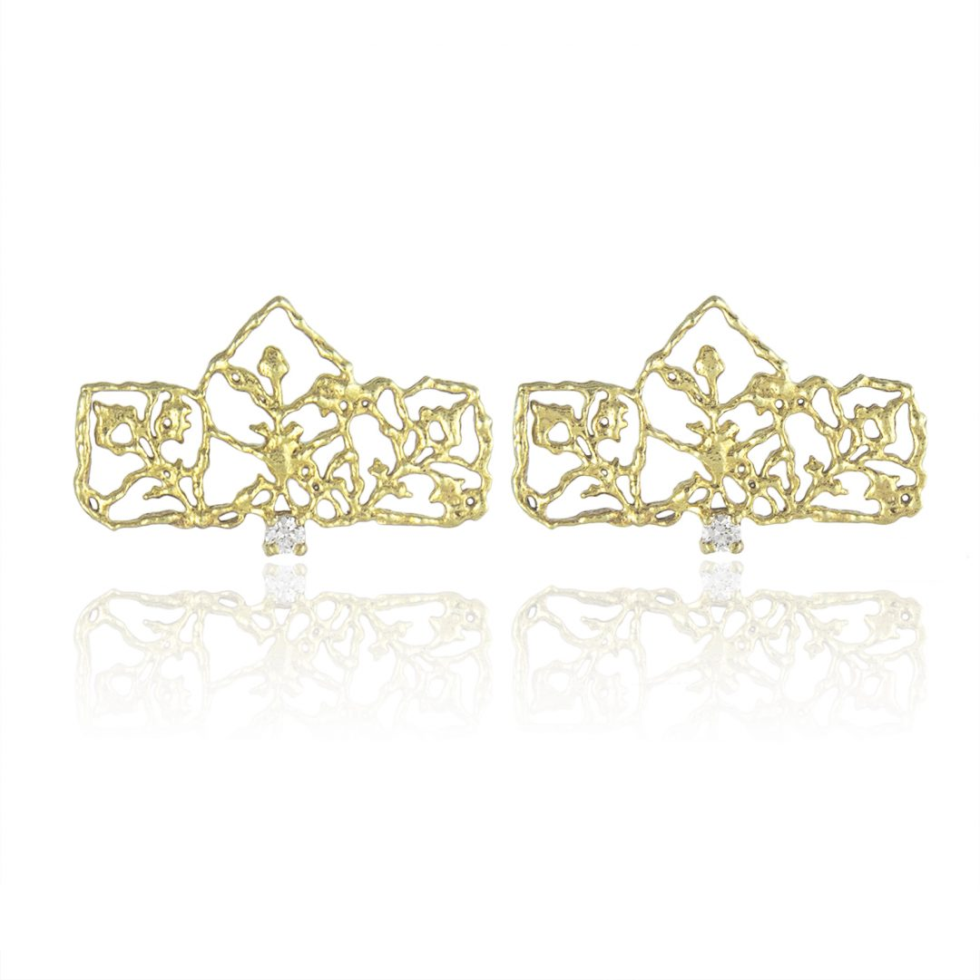 Natalie Perry, Diamond Petal Studs in Fairtrade Gold