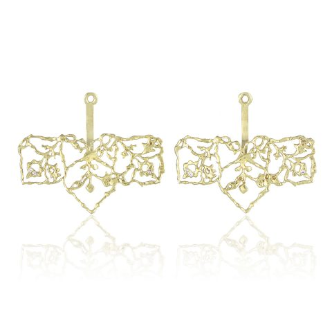 Natalie Perry Jewellery, Filigree Straight Ear Jackets in Fairtrade Gold