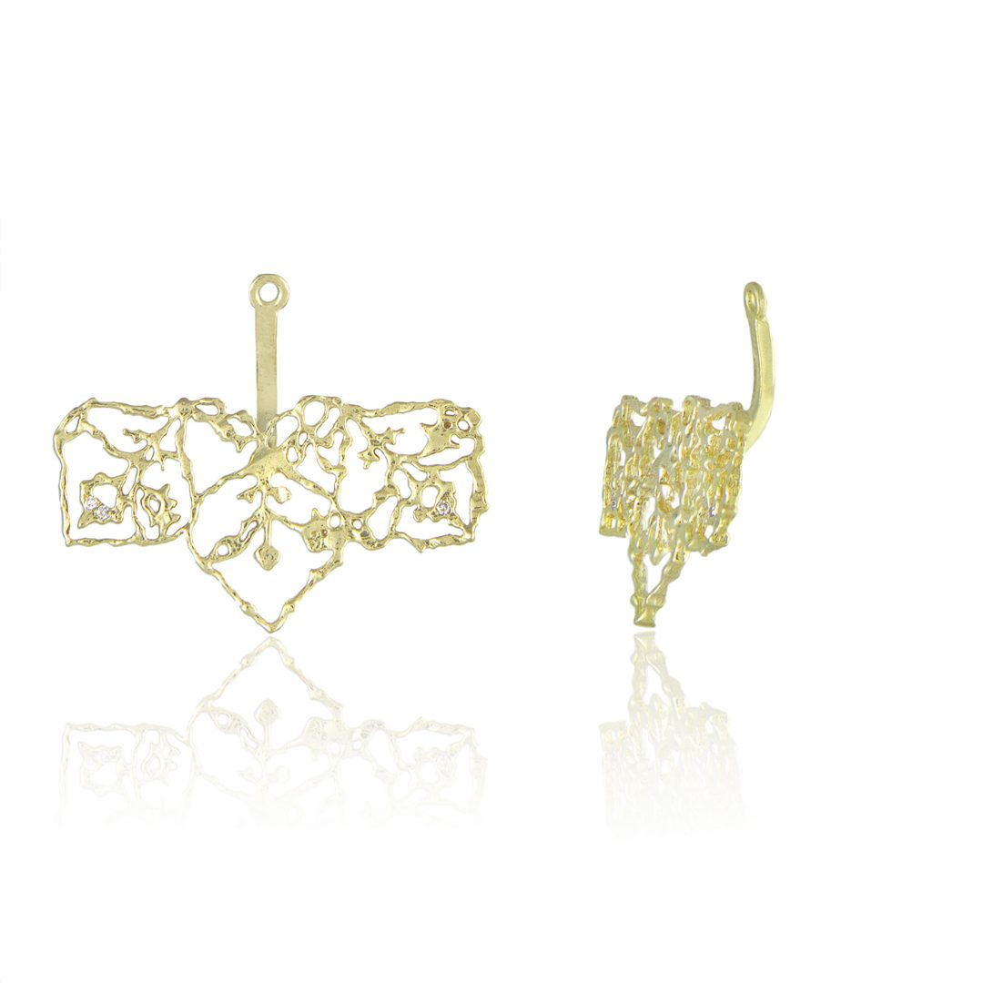 Natalie Perry Jewellery, Filigree Straight Ear Jackets in Fairtrade Gold (2)