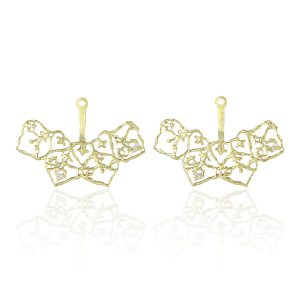 Natalie Perry Jewellery, Filigree Curved Ear Jackets in Fairtrade Gold (2)