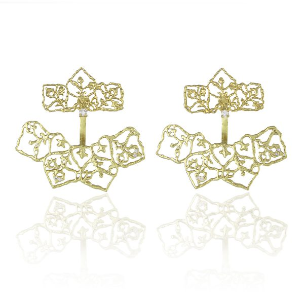 Natalie Perry Jewellery, Diamond Petal Curved Ear Jackets in Fairtrade Gold