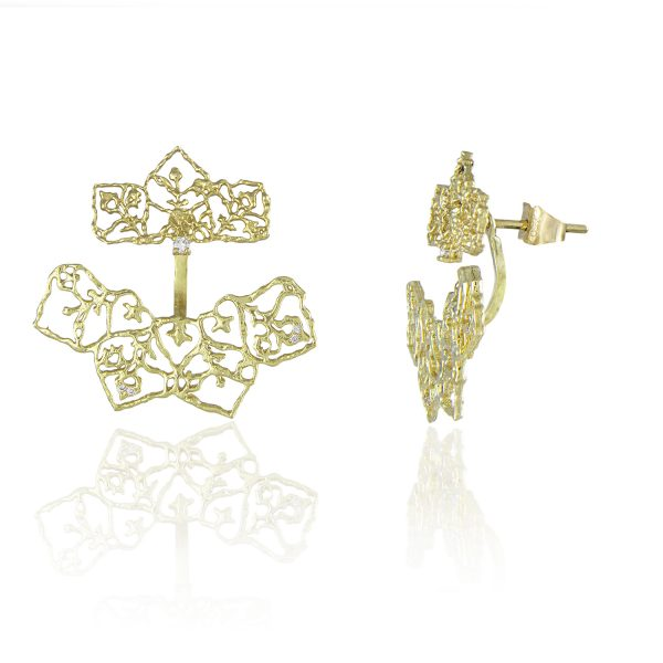 Natalie Perry Jewellery, Diamond Petal Curved Ear Jackets in Fairtrade Gold (2)