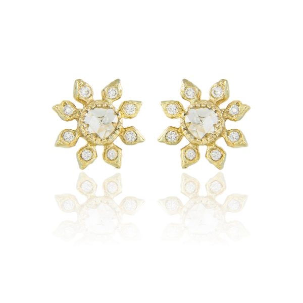 Natalie Perry, Diamond Flower Studs in Fairtrade Gold