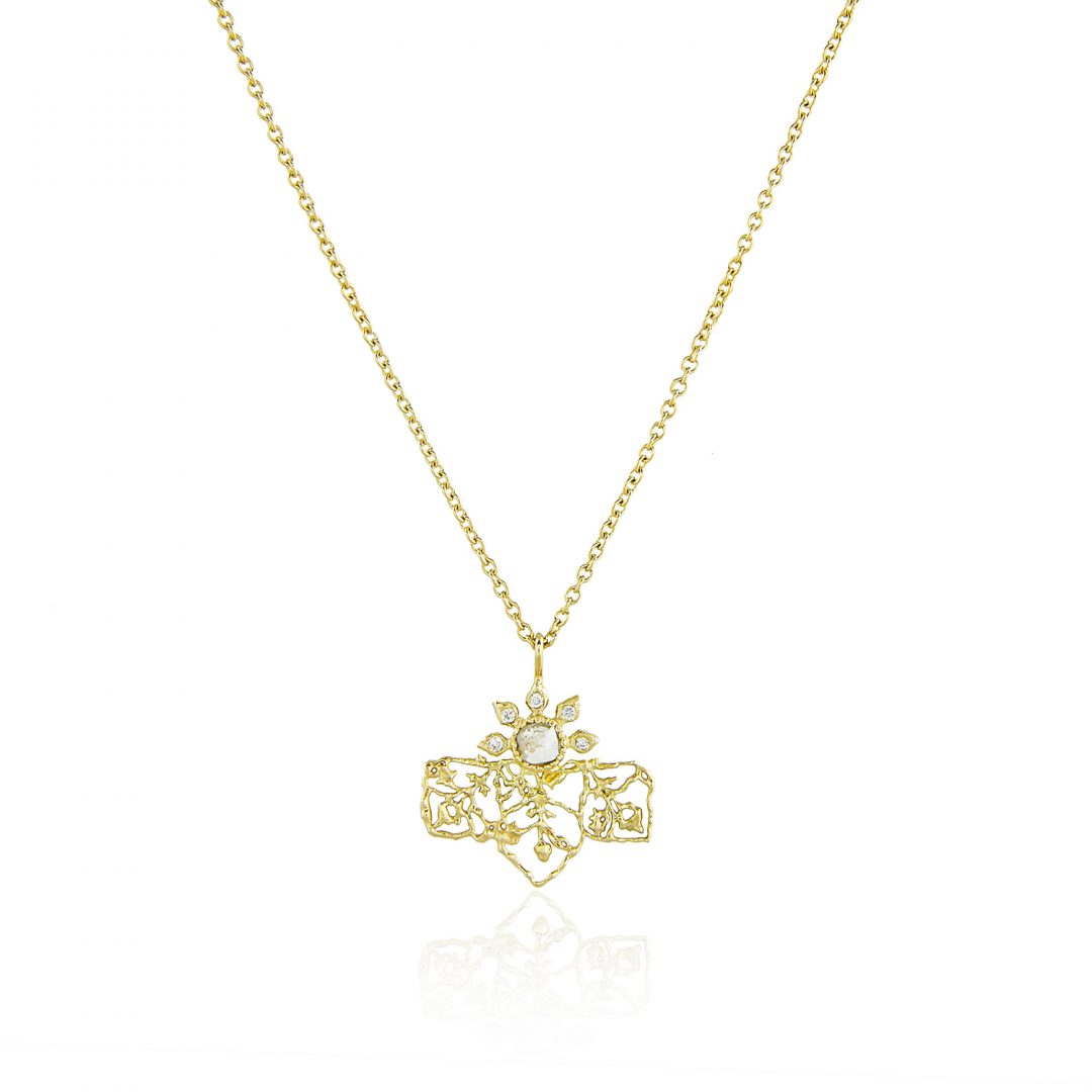 Natalie Perry, Diamond Petal Pendant in Fairtrade Gold