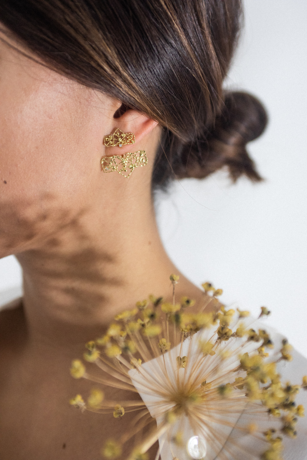 Natalie Perry Jewellery, 18ct gold filigree ear jackets