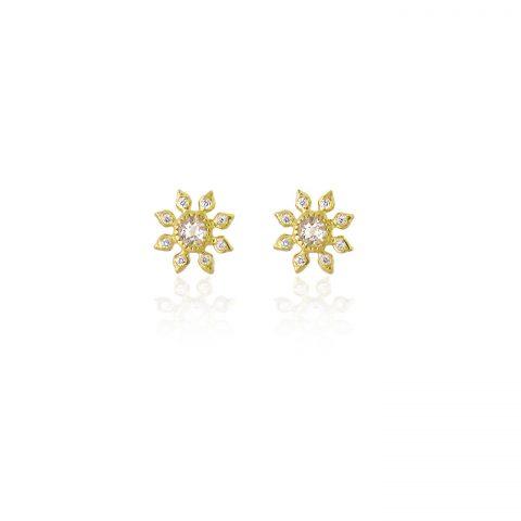 Natalie Perry Jewellery, Gemstone & Diamond Flower Studs, £1350