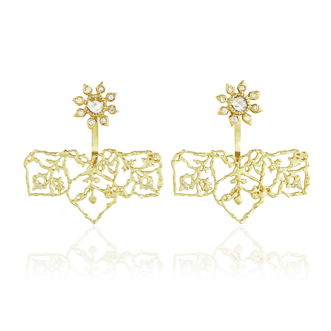 Natalie Perry, Diamond Flower Straight Ear Jackets in 18ct Fairtrade Gold jewellery