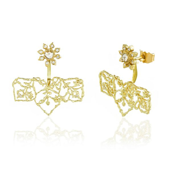 Natalie Perry, Diamond Flower Straight Ear Jackets in 18ct Fairtrade Gold jewellery (2)