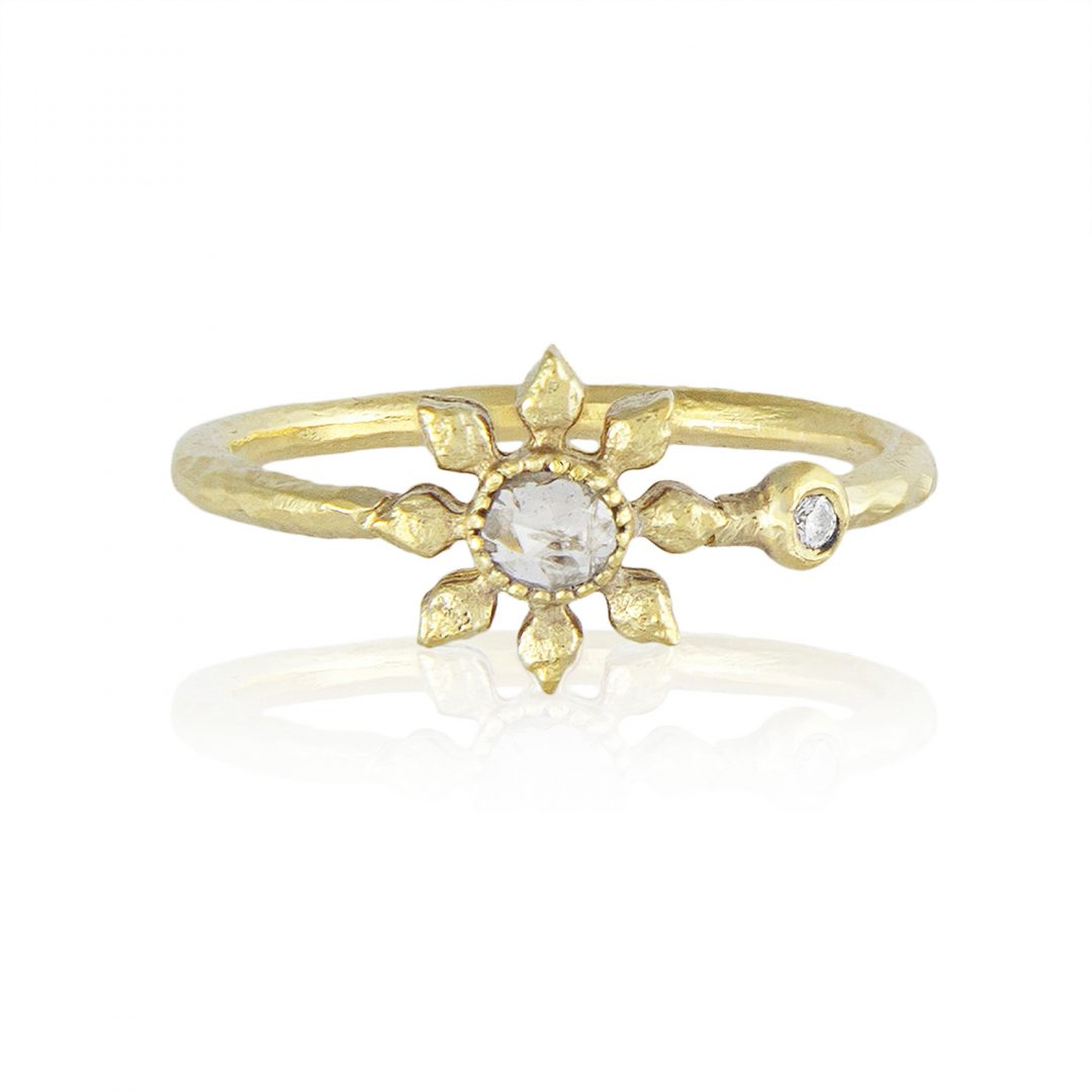 Natalie Perry, Diamond Flower Ring in Fairtrade Gold
