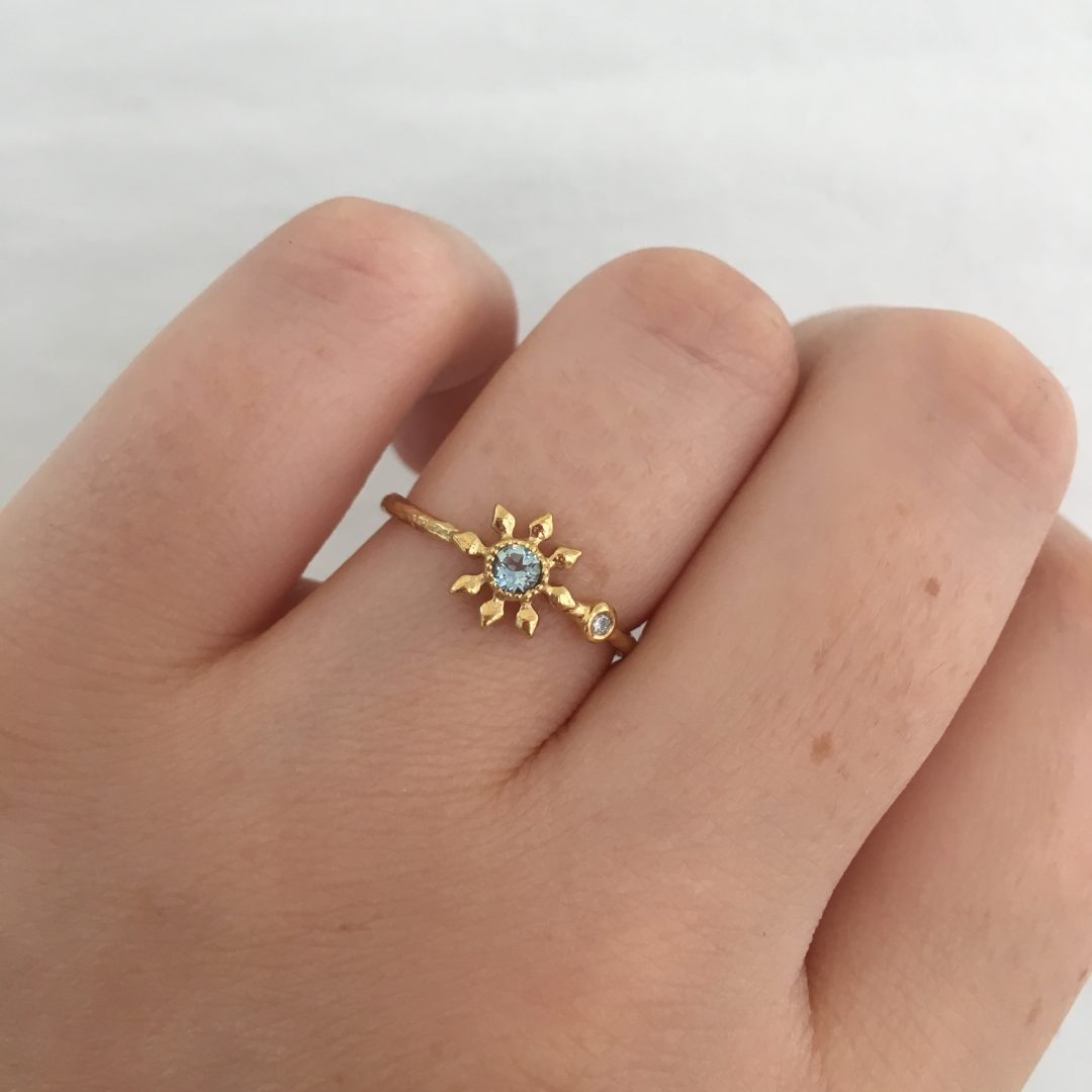 Natalie Perry Jewellery Flower Ring with aquamarine