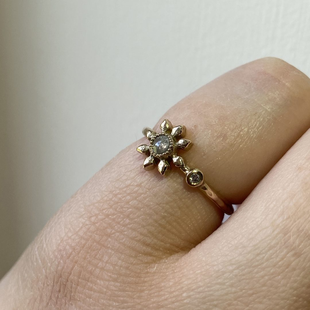 Natalie Perry Jewellery, Diamond Flower Ring in recycled gold