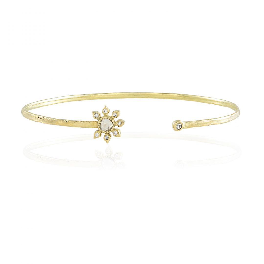 Natalie Perry, Diamond Flower Cuff in Fairtrade Gold
