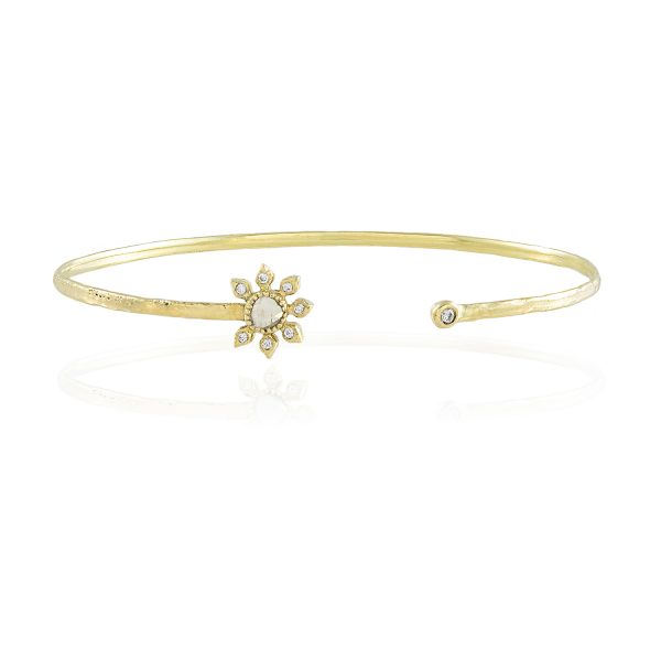 Natalie Perry, Diamond Flower Cuff in Fairtrade Gold