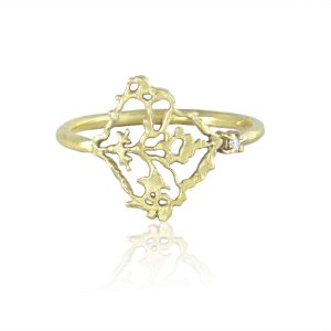 Natalie Perry, Diamond Petal Ring in Fairtrade Gold