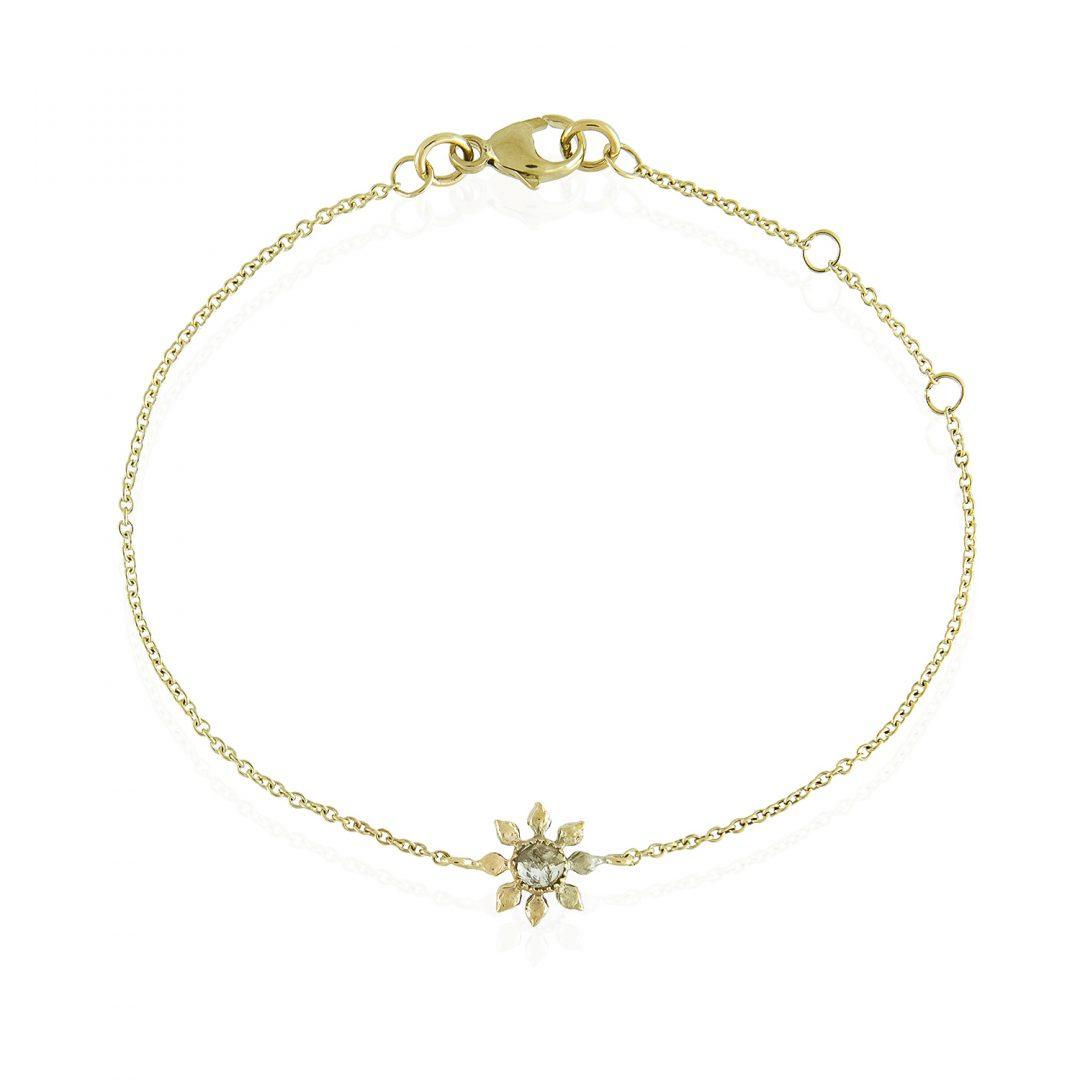 Natalie Perry, Diamond Flower Bracelet in Fairtrade Gold