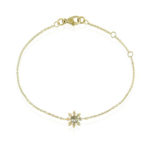 Natalie Perry, Diamond Flower Bracelet in Fairtrade Gold
