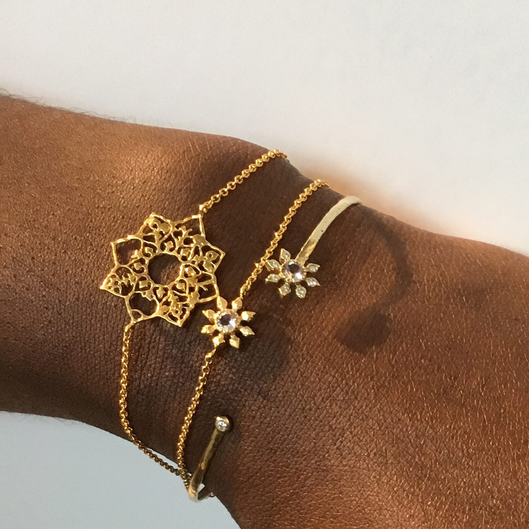 Natalie Perry Jewellery, Mandala Bracelet in 18ct Fairtrade Gold