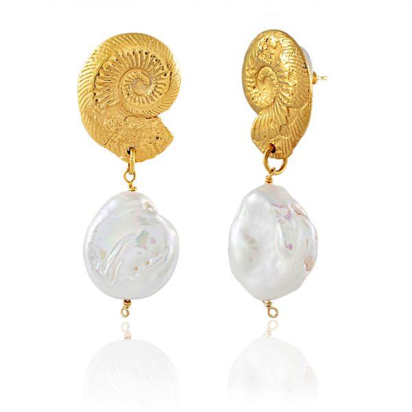 Natalie Perry, Ammonite Pearl Earrings