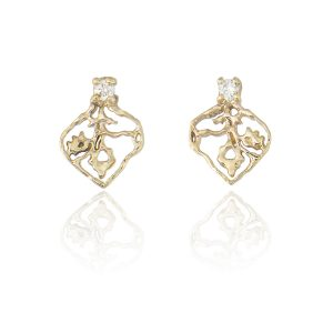 Natalie Perry, Tiny Petal Stud Earrings in Fairtrade Gold