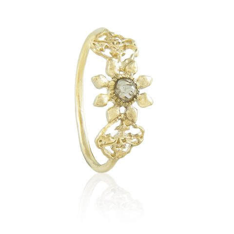 Natalie Perry, Triple Petal Ring in Fairtrade Gold