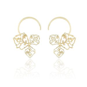 Natalie Perry, Triple Petal Hoop earrings in Fairtrade Gold