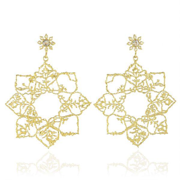 Natalie Perry, Diamond Flower Large Mandala Hoop Earrings in Fairtrade Gold