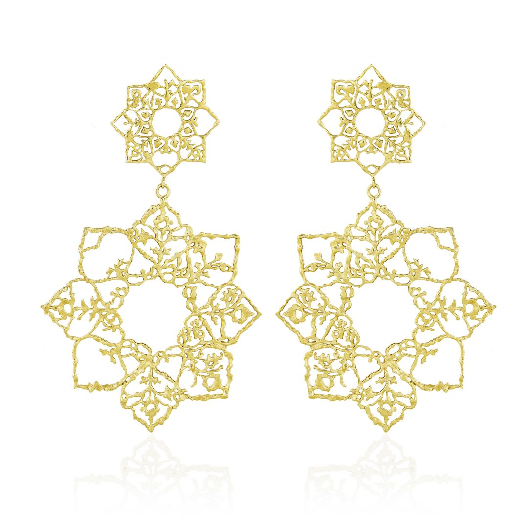 Natalie Perry, Double Mandala Drop Earrings in Fairtrade Gold
