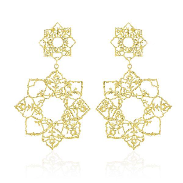 Natalie Perry, Double Mandala Drop Earrings in Fairtrade Gold