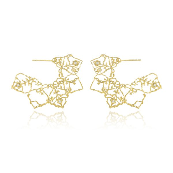 Natalie Perry, Lace Mandala Hoops in 18ct Fairtrade Gold with diamonds