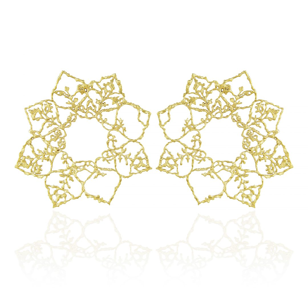 Natalie Perry, Large Mandala Lace Hoops in 18ct Fairtrade Gold