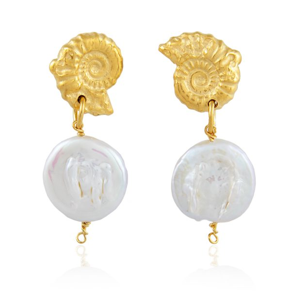 Natalie Perry, Small Ammonite Pearl Earrings