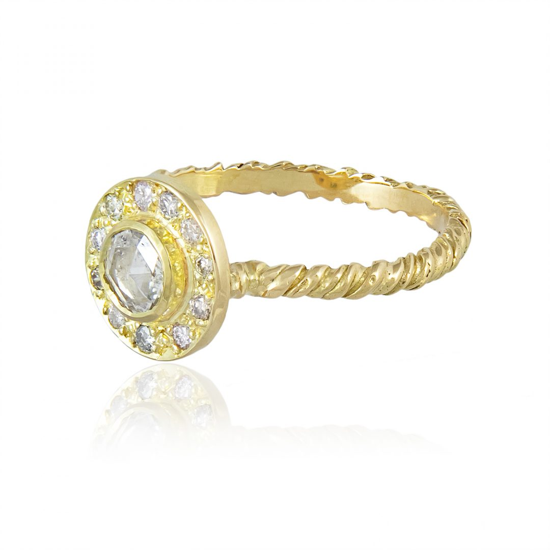 Natalie Perry, Diamond Halo Ring in 18ct recycled gold and ethical diamonds