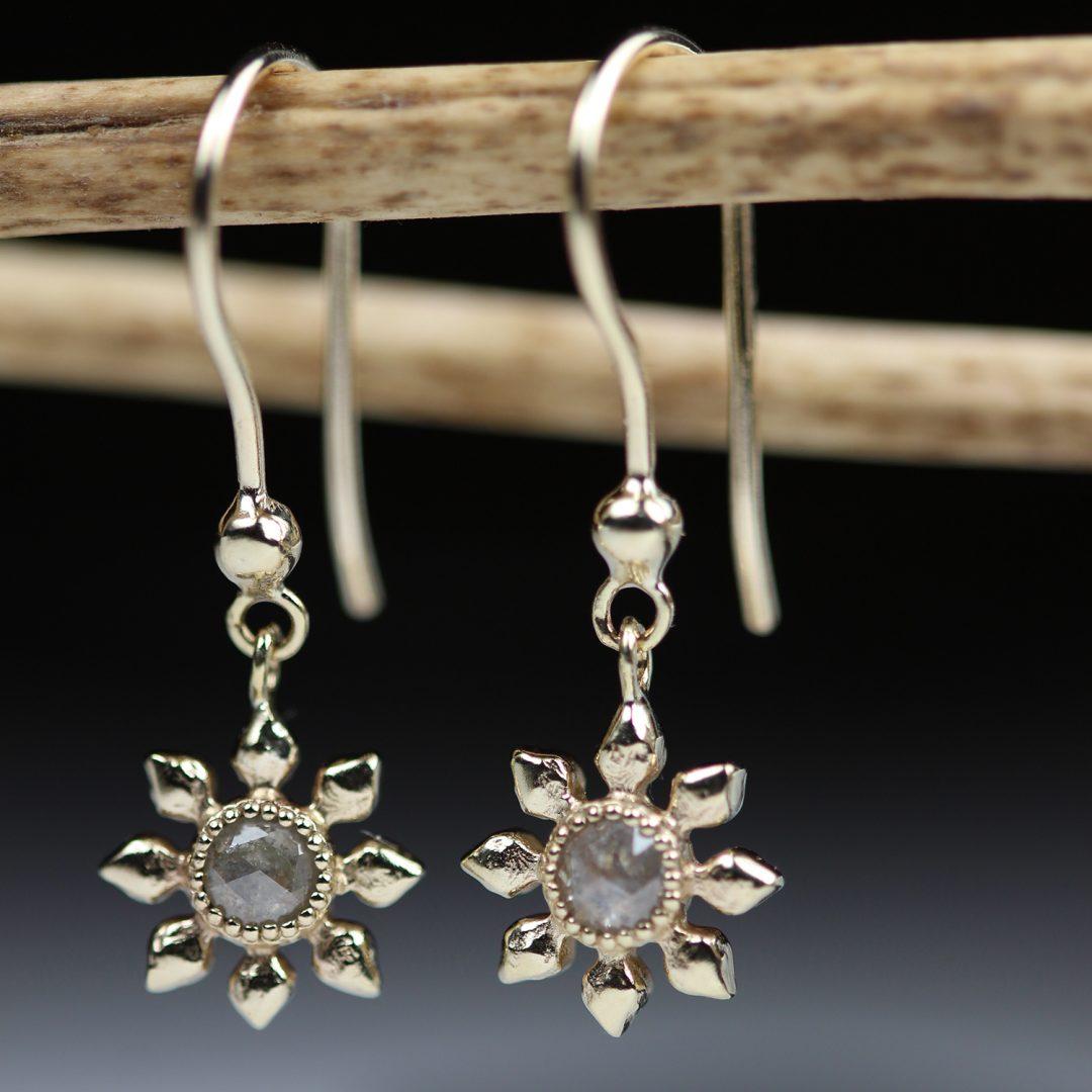 Natalie Perry Jewellery, Diamond Flower Hook Earrings in 9ct recycled gold