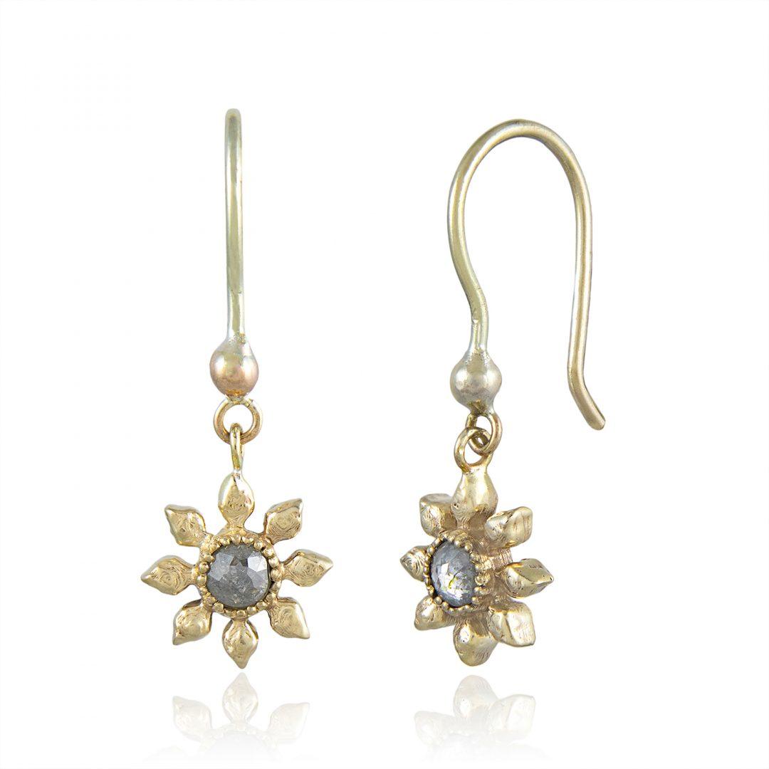 Natalie Perry Jewellery, Diamond Flower Hook Earrings