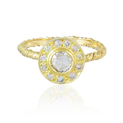 Natalie Perry, Natural Diamond Halo Ethical Engagement Ring in recycled gold