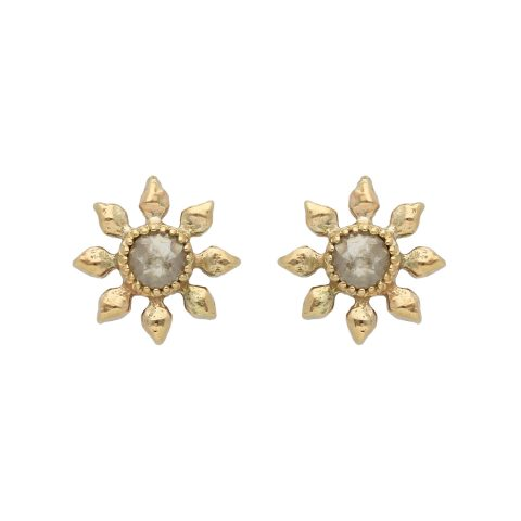 Natalie Perry Jewellery, Diamond Flower Earrings in recycled gold with ethical diamonds