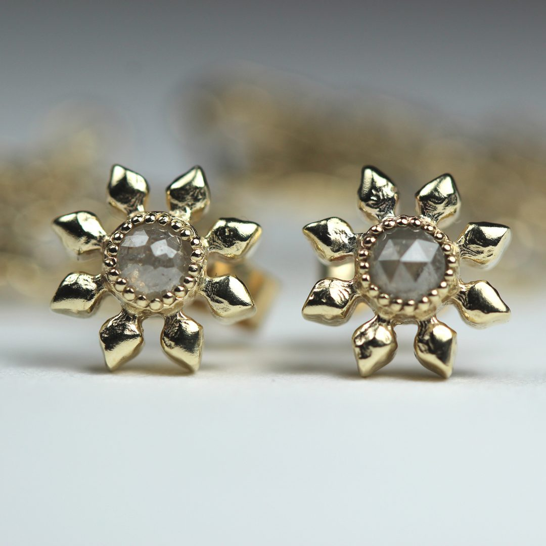 Natalie Perry Jewellery, Diamond Flower Studs in 9ct recycled gold with conflict-free ethical diamonds
