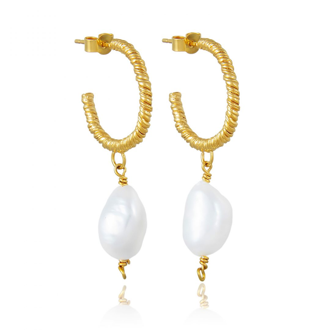 Natalie Perry Jewellery, Medium Organic Twisted Pearl Hoop Earrings