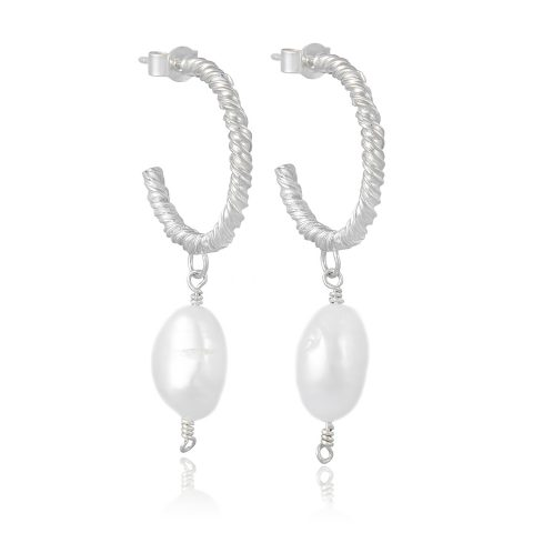 Natalie Perry Jewellery, Medium Silver Organic Twisted Pearl Hoop Earrings