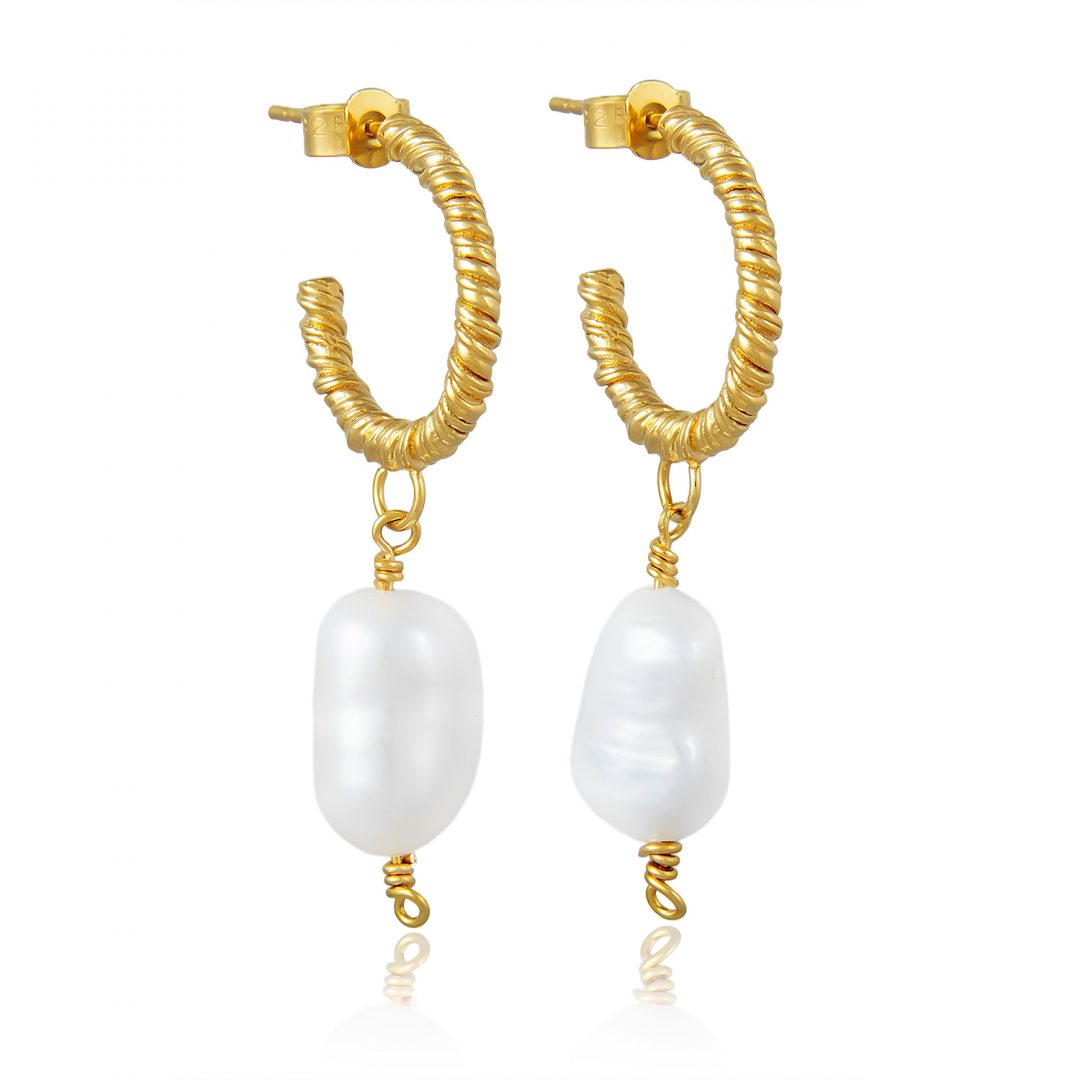 Natalie Perry Jewellery, Small Organic Twisted Pearl Hoop Earrings