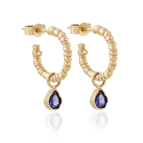 Natalie Perry Jewellery, Organic Twisted Charm Hoops with tanzanite charms