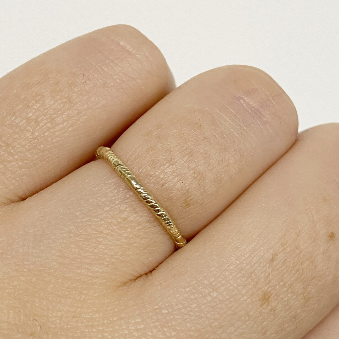 Natalie Perry Jewellery, Organic Twisted Ring 1.5mm 9ct gold