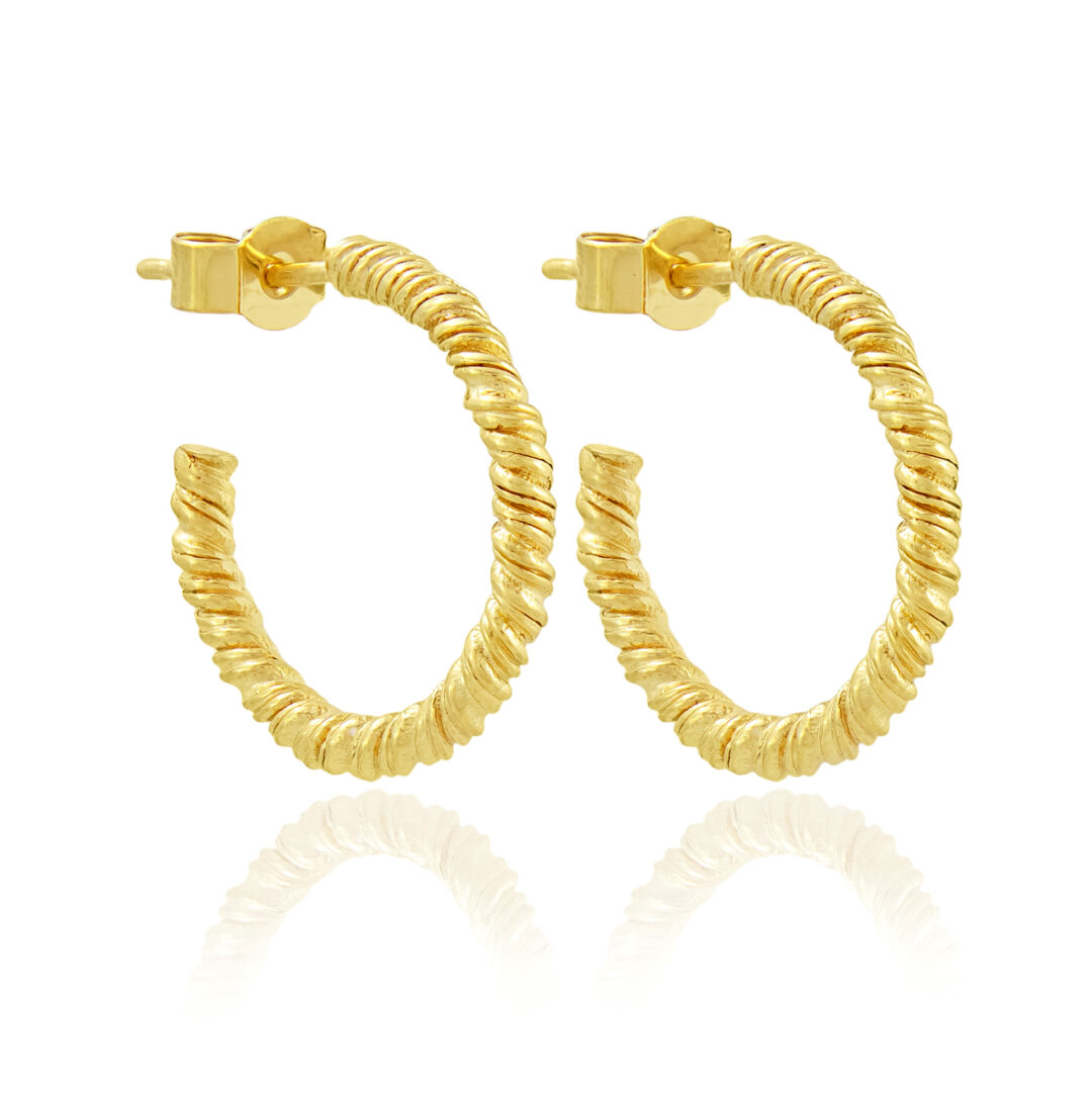 Natalie Perry Jewellery, Small Gold Organic Twisted Hoops
